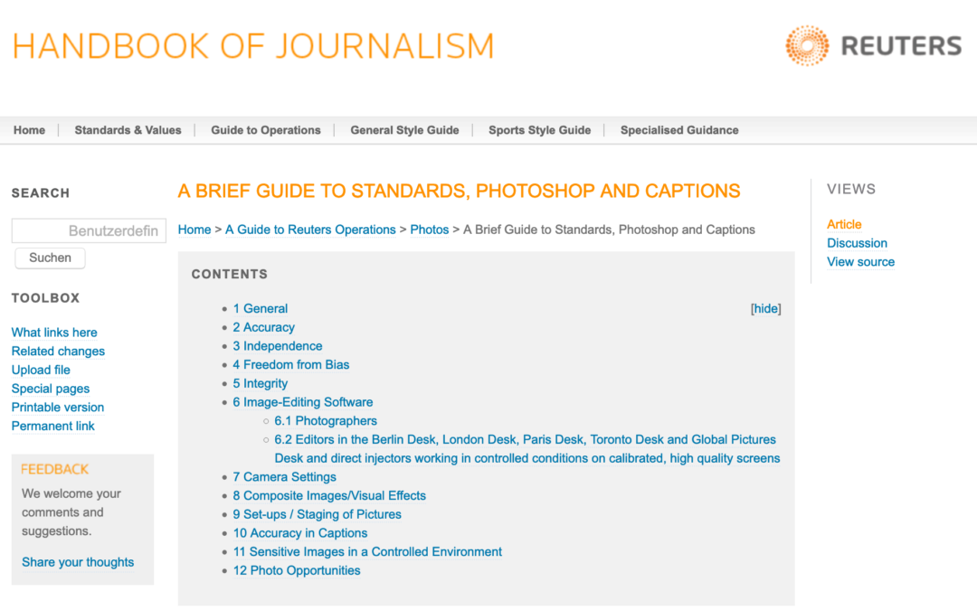 About photo captions: guide from reuters